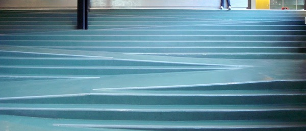 A series of stairs and a ramps interleaving between them